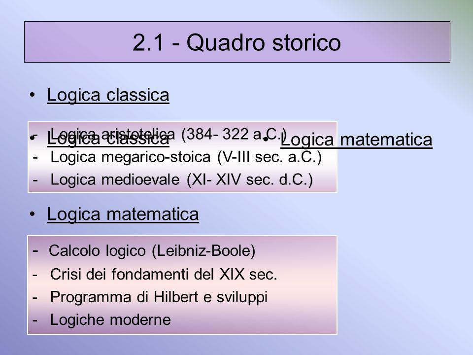 2.1 - Quadro storico Logica classica Logica classica Logica matematica