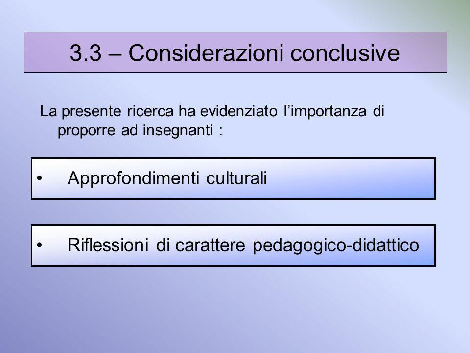 3.3 – Considerazioni conclusive