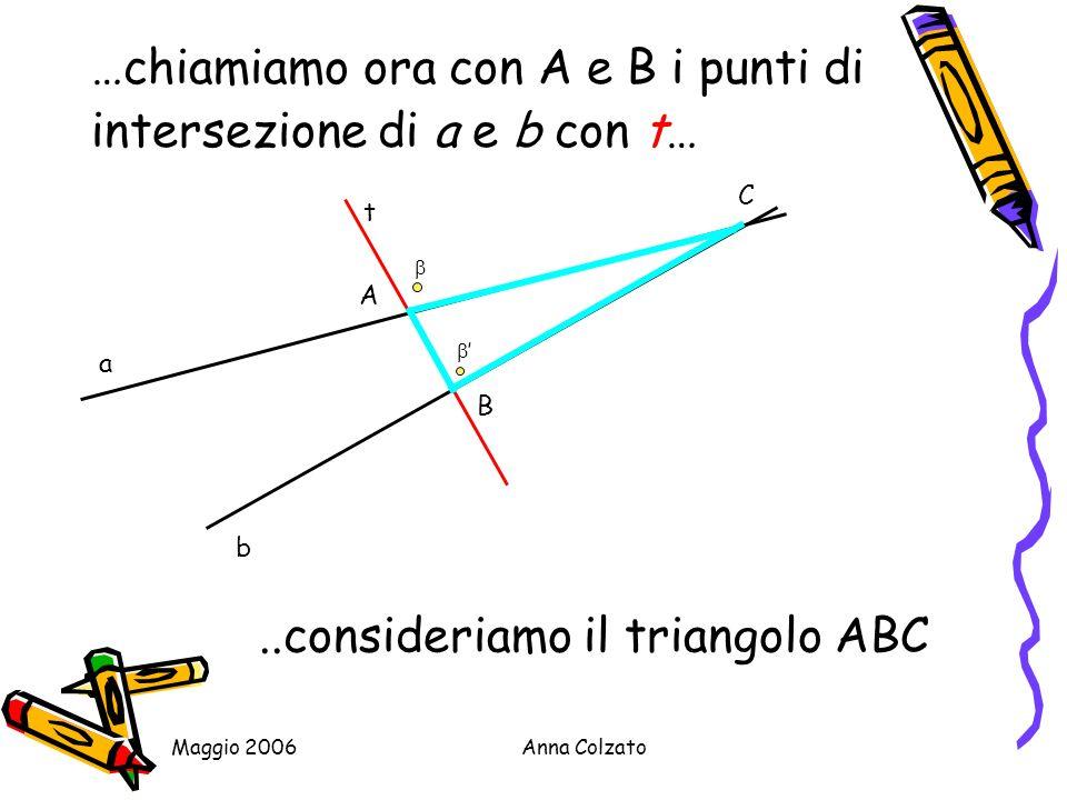 …chiamiamo ora con A e B i punti di intersezione di a e b con t…