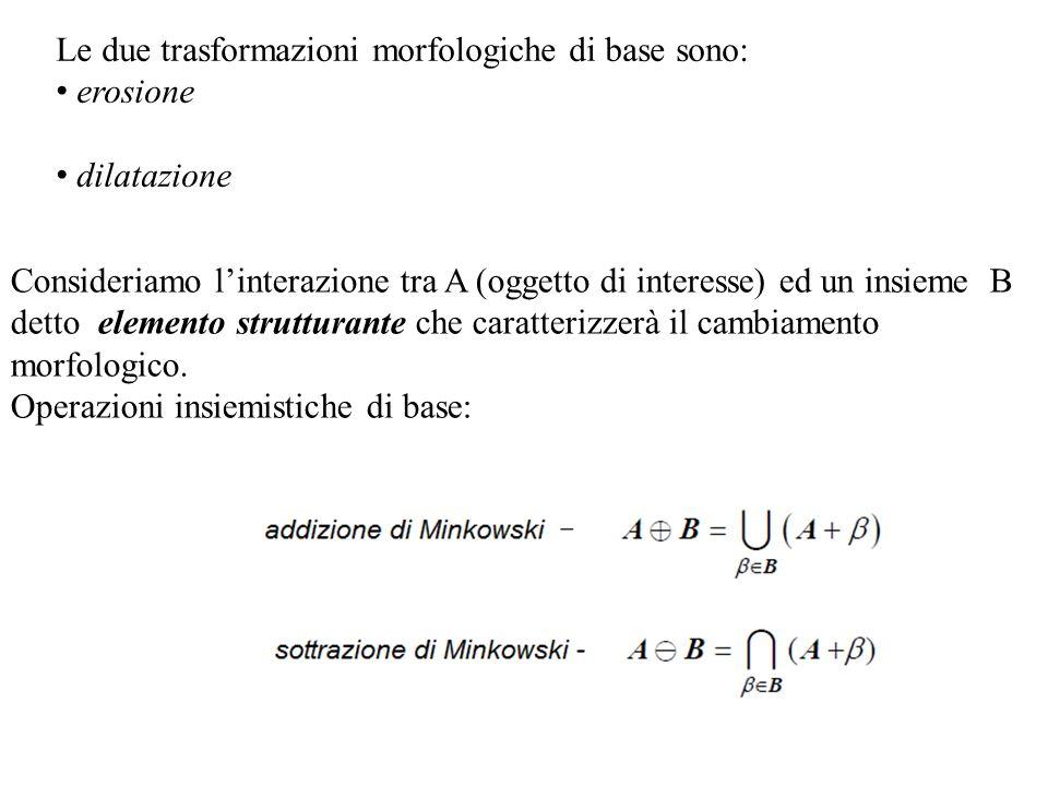 Le due trasformazioni morfologiche di base sono: