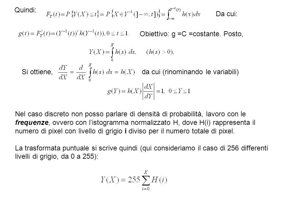 Quindi: Da cui: Obiettivo: g =C =costante. Posto, Si ottiene, da cui (rinominando le variabili)