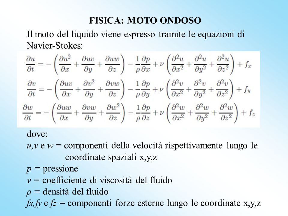 FISICA: MOTO ONDOSOIl moto del liquido viene espresso tramite le equazioni di Navier-Stokes: