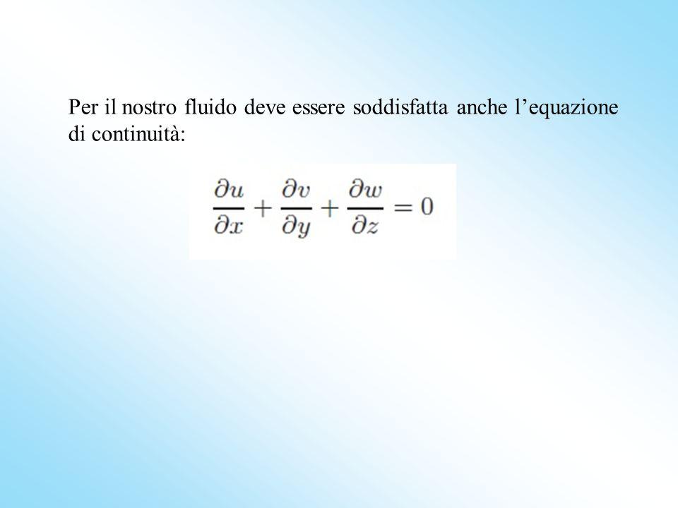 Per il nostro fluido deve essere soddisfatta anche l'equazione di continuità: