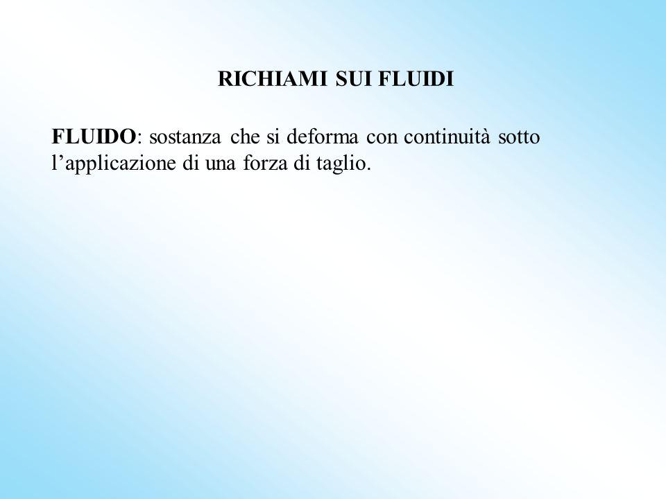RICHIAMI SUI FLUIDI FLUIDO: sostanza che si deforma con continuità sotto l'applicazione di una forza di taglio.