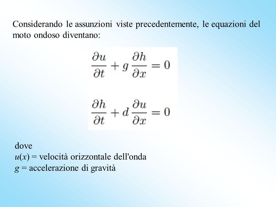 Considerando le assunzioni viste precedentemente, le equazioni del moto ondoso diventano: