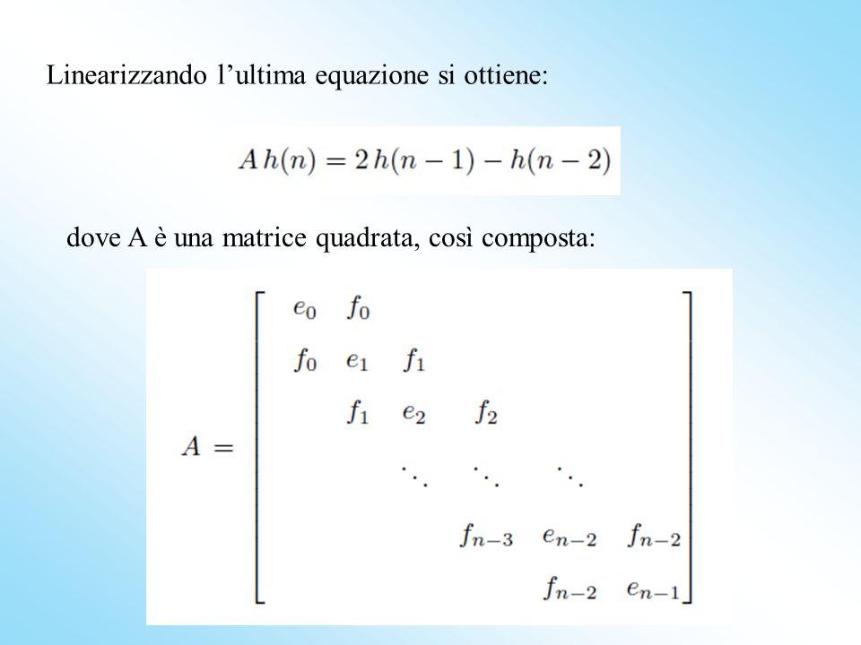 Linearizzando l'ultima equazione si ottiene: