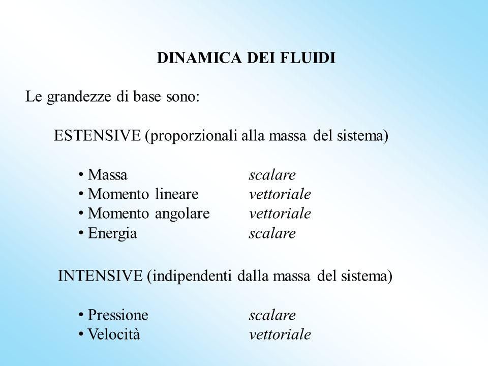 DINAMICA DEI FLUIDI Le grandezze di base sono: ESTENSIVE (proporzionali alla massa del sistema) Massa scalare.