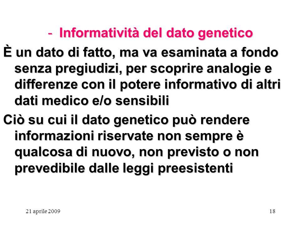 Informatività del dato genetico
