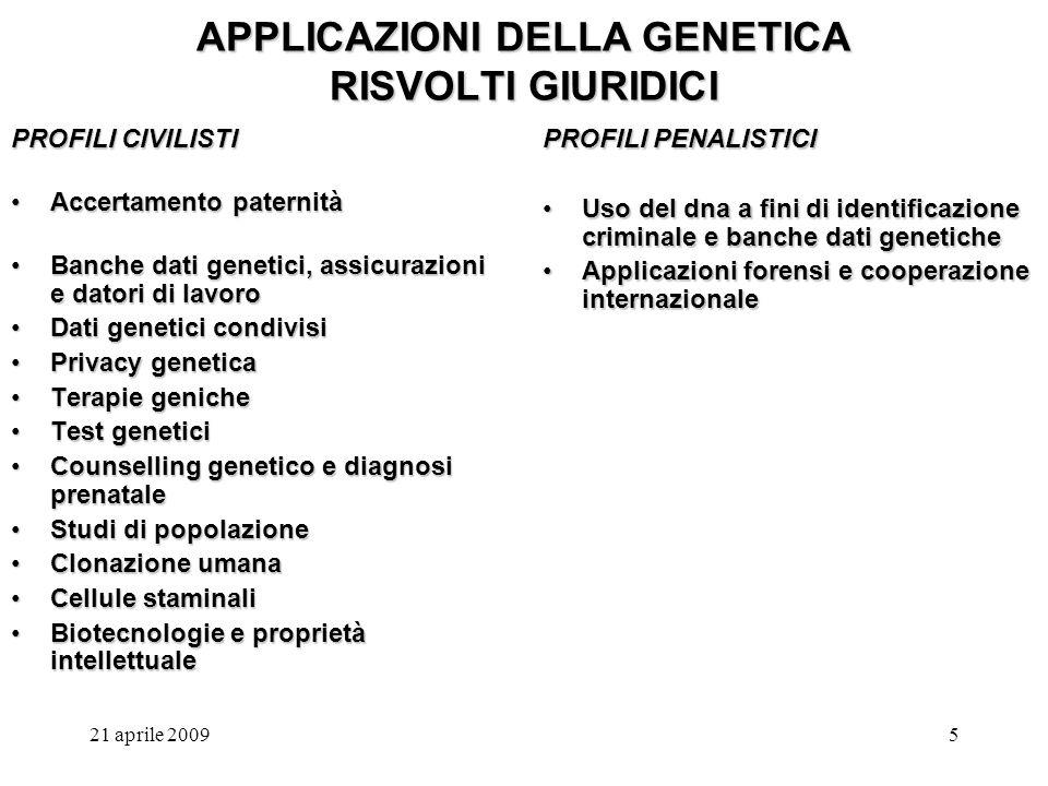 APPLICAZIONI DELLA GENETICA RISVOLTI GIURIDICI
