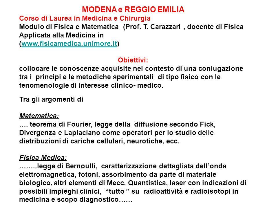 MODENA e REGGIO EMILIA Corso di Laurea in Medicina e Chirurgia
