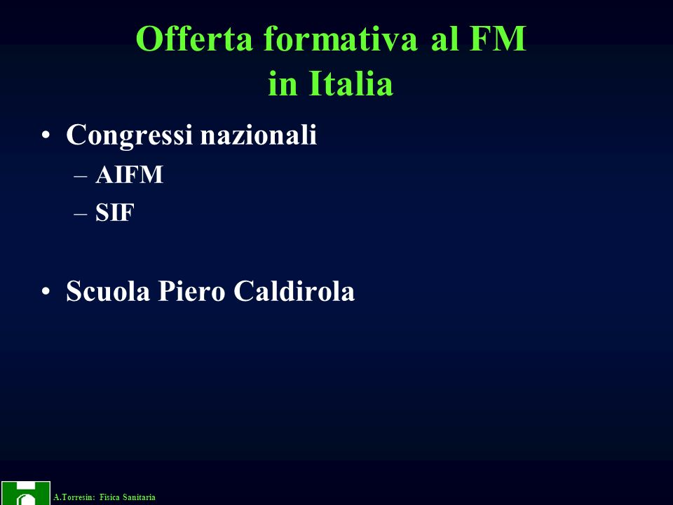 Offerta formativa al FM in Italia
