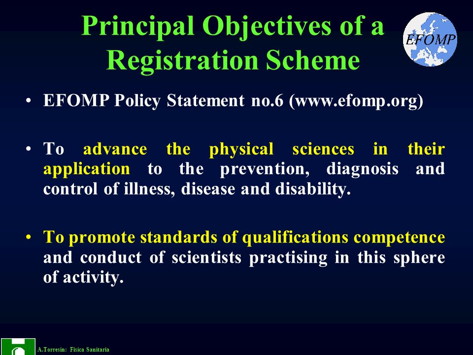 Principal Objectives of a Registration Scheme