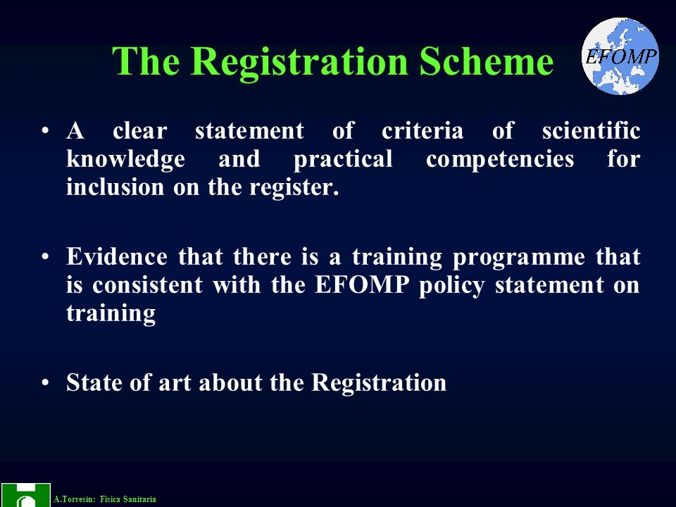 The Registration Scheme