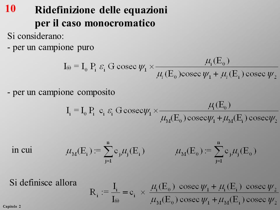 Ridefinizione delle equazioni per il caso monocromatico