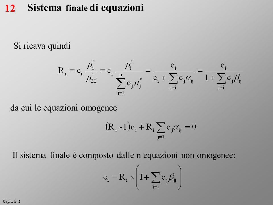Sistema finale di equazioni