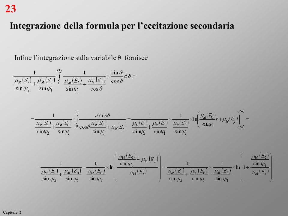 23 Integrazione della formula per l'eccitazione secondaria