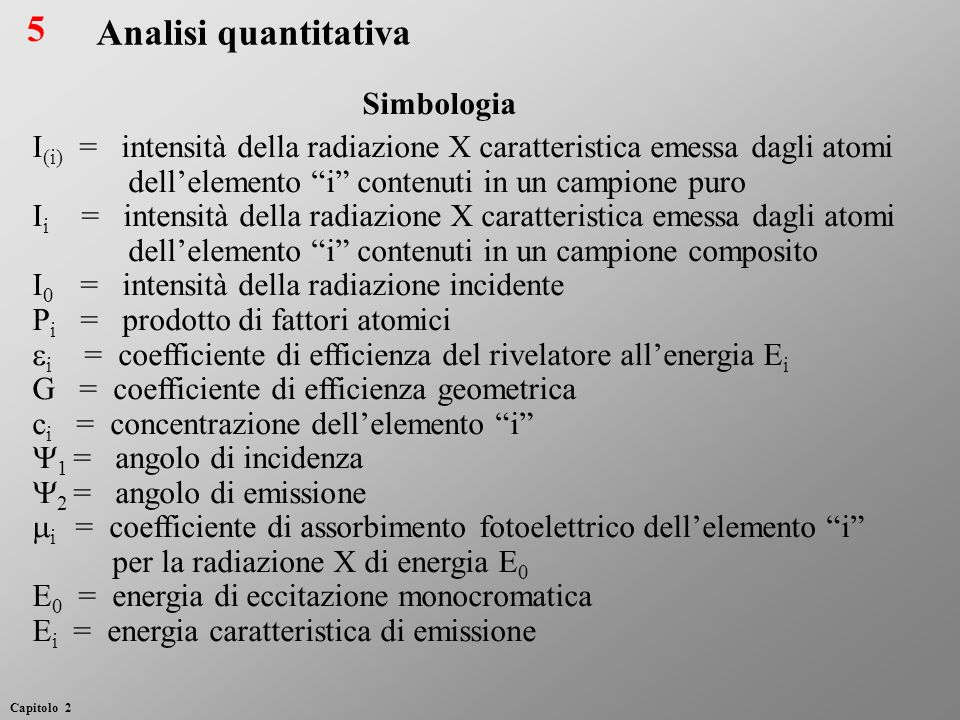 5 Analisi quantitativa Simbologia