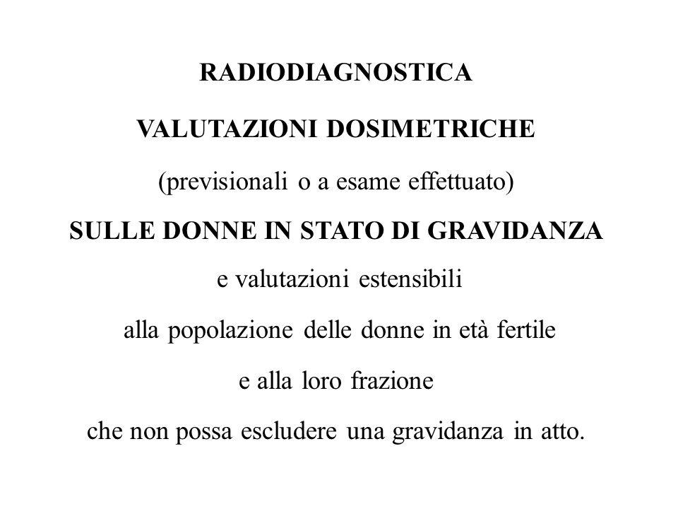 VALUTAZIONI DOSIMETRICHE SULLE DONNE IN STATO DI GRAVIDANZA