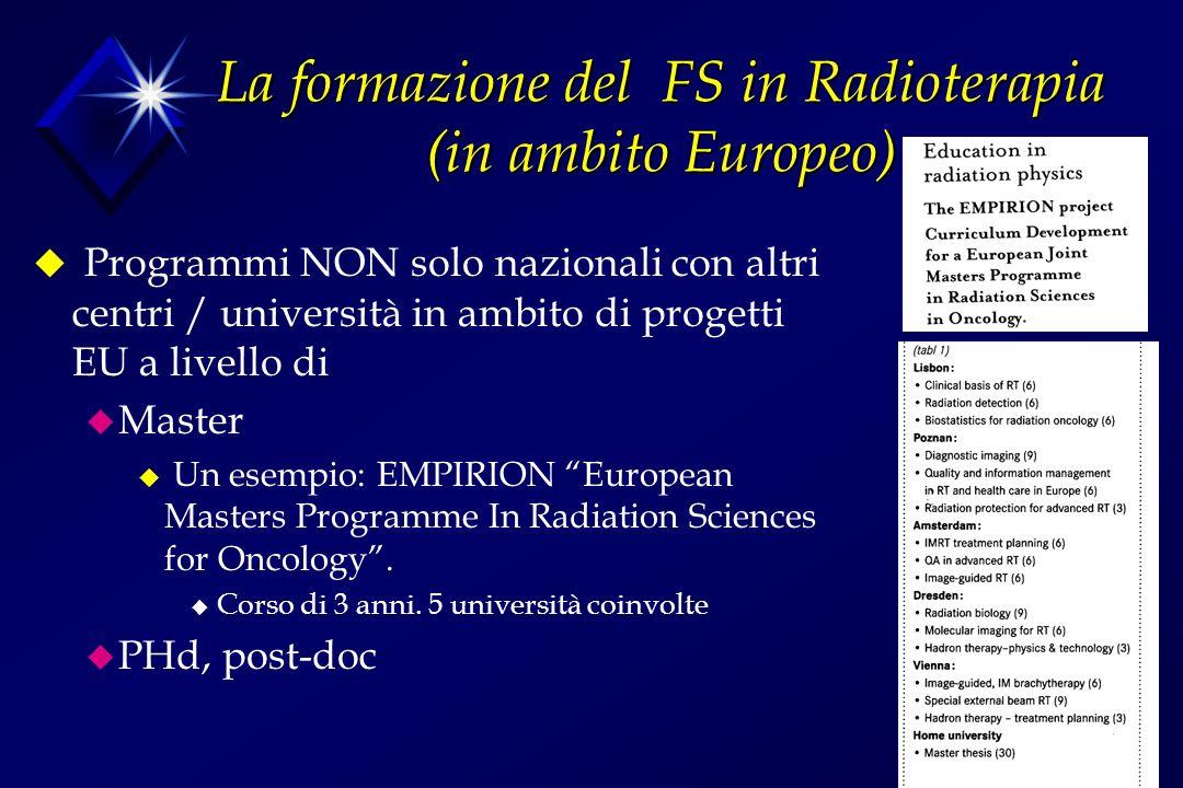 La formazione del FS in Radioterapia (in ambito Europeo)