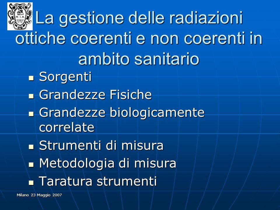 La gestione delle radiazioni ottiche coerenti e non coerenti in ambito sanitario