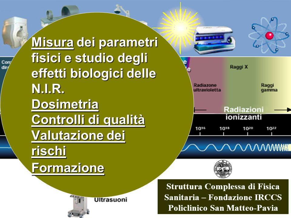 Misura dei parametri fisici e studio degli effetti biologici delle N.I.R. Dosimetria Controlli di qualità Valutazione dei rischi Formazione