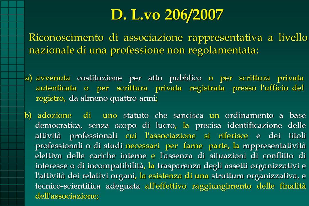 D. L.vo 206/2007 Riconoscimento di associazione rappresentativa a livello nazionale di una professione non regolamentata: