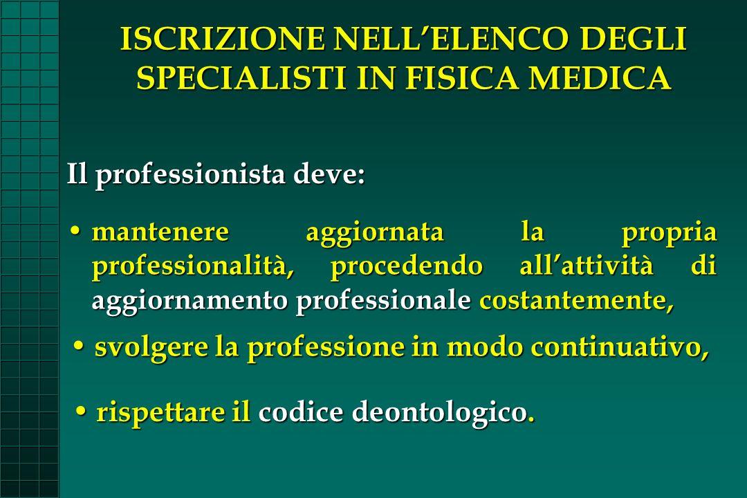 ISCRIZIONE NELL'ELENCO DEGLI SPECIALISTI IN FISICA MEDICA