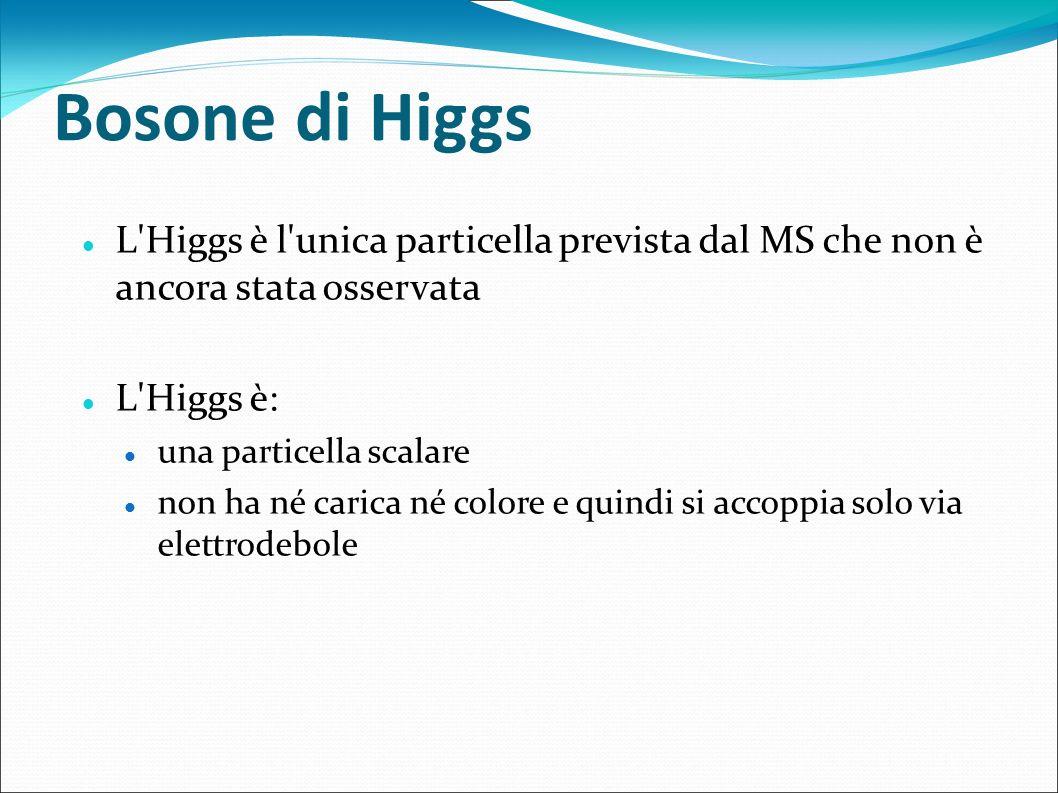Bosone di Higgs L Higgs è l unica particella prevista dal MS che non è ancora stata osservata. L Higgs è: