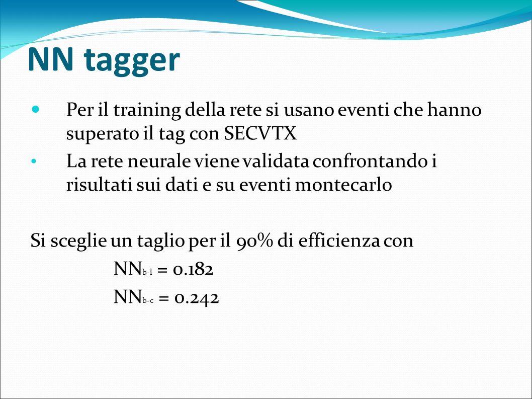 NN tagger Per il training della rete si usano eventi che hanno superato il tag con SECVTX.