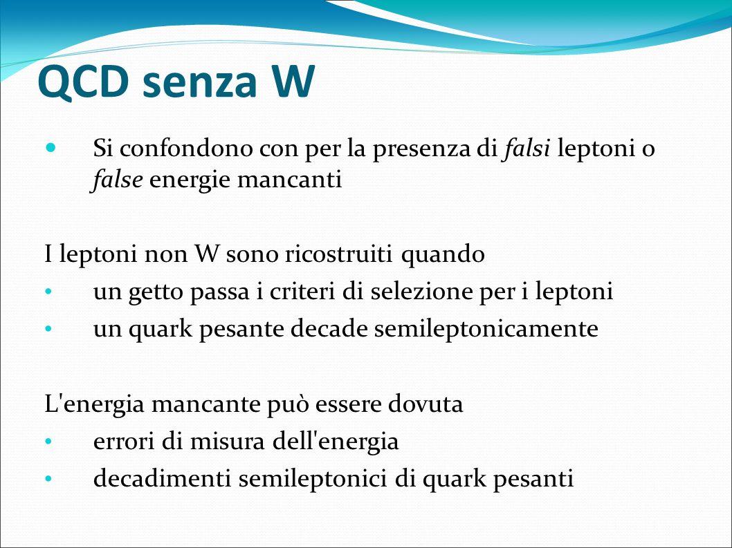 QCD senza W Si confondono con per la presenza di falsi leptoni o false energie mancanti. I leptoni non W sono ricostruiti quando.