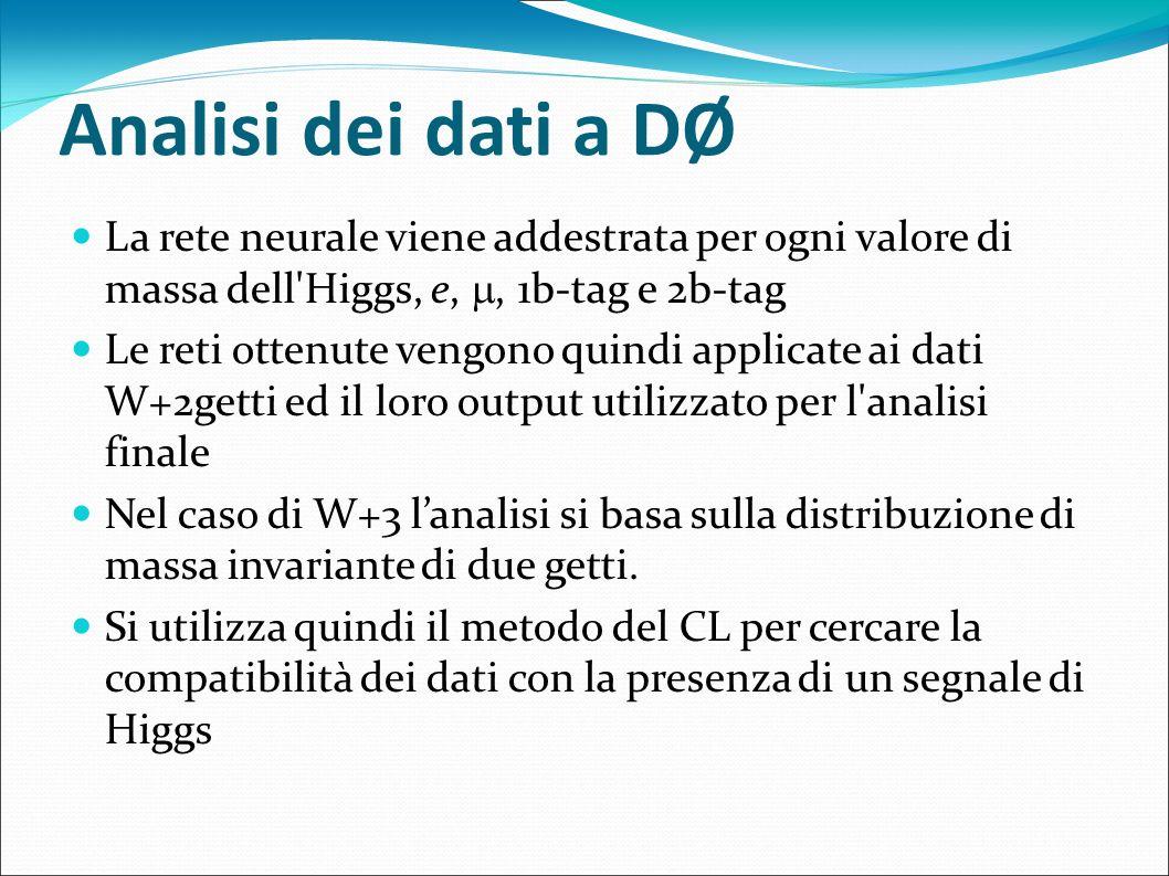 Analisi dei dati a DØ La rete neurale viene addestrata per ogni valore di massa dell Higgs, e, , 1b-tag e 2b-tag.
