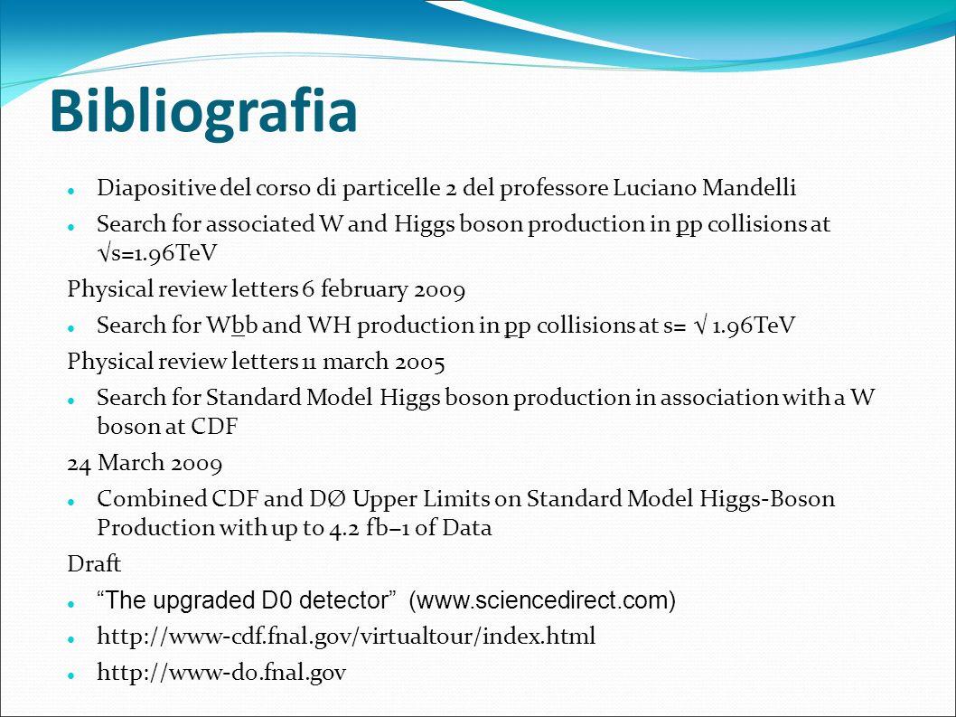Bibliografia Diapositive del corso di particelle 2 del professore Luciano Mandelli.