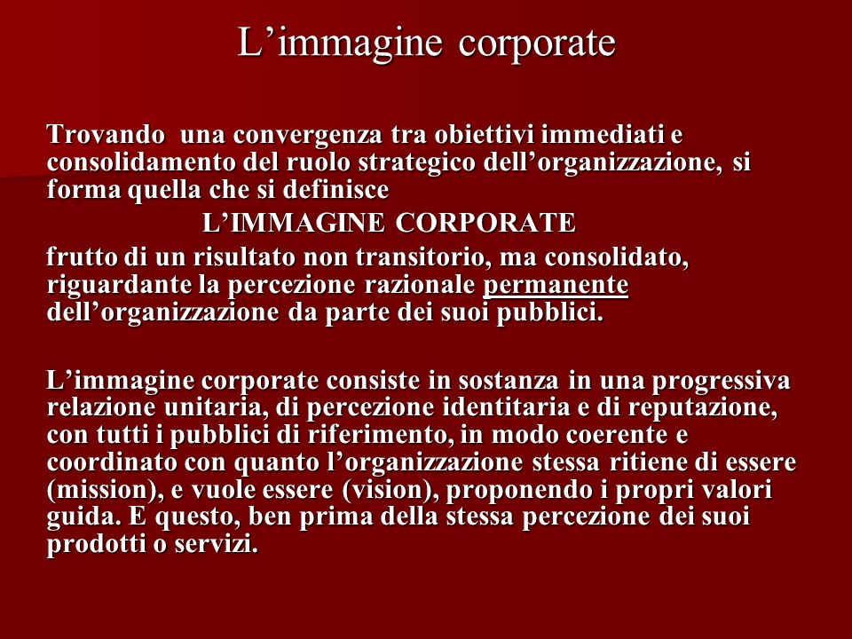 L'immagine corporate