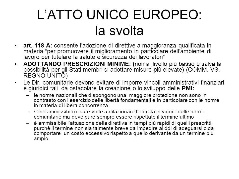 L'ATTO UNICO EUROPEO: la svolta
