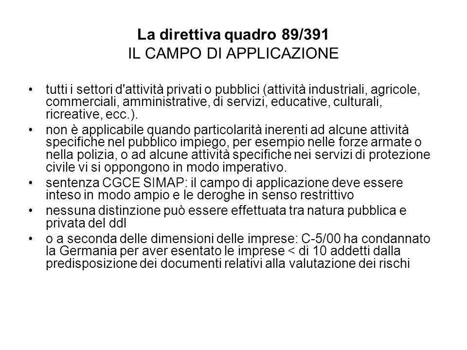 La direttiva quadro 89/391 IL CAMPO DI APPLICAZIONE