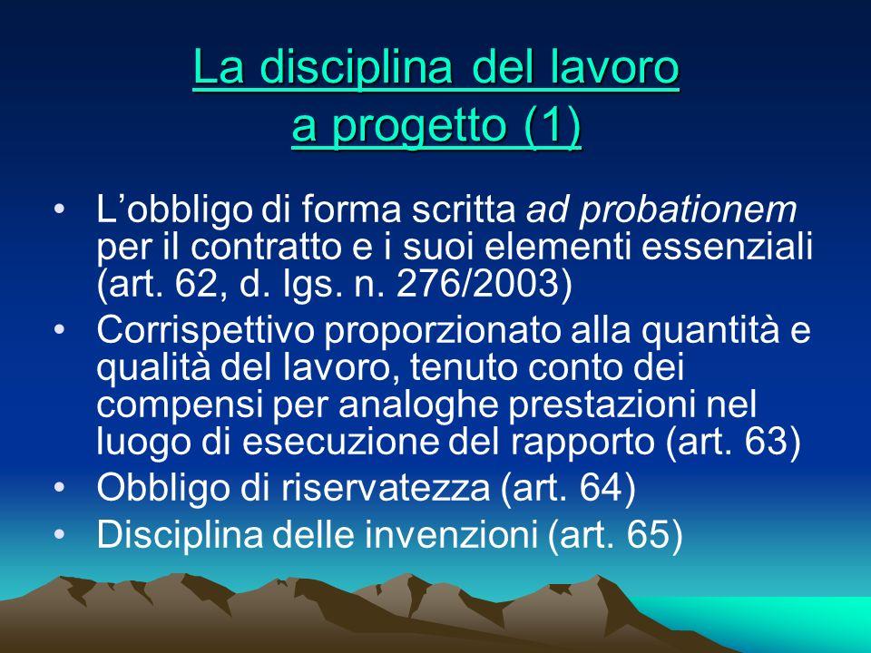 La disciplina del lavoro a progetto (1)