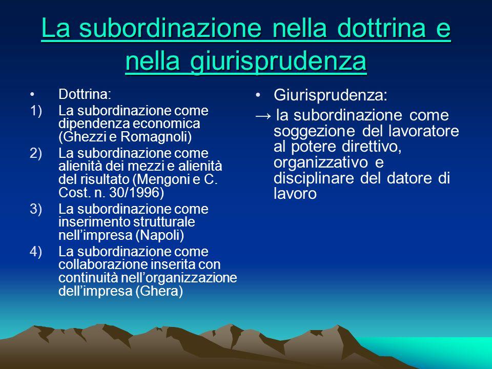 La subordinazione nella dottrina e nella giurisprudenza