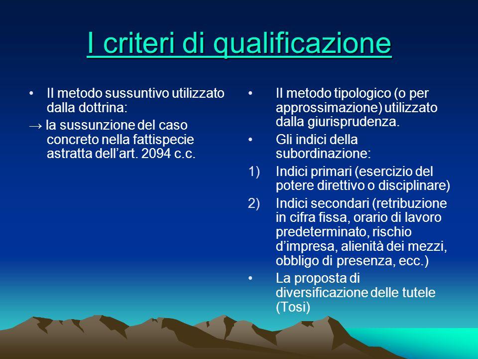 I criteri di qualificazione