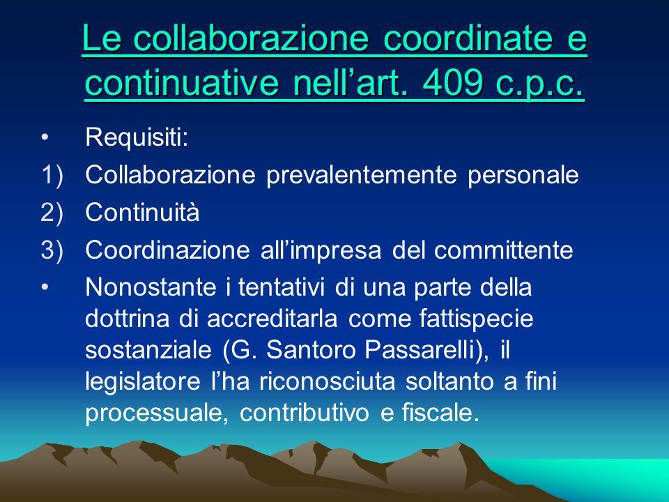 Le collaborazione coordinate e continuative nell'art. 409 c.p.c.