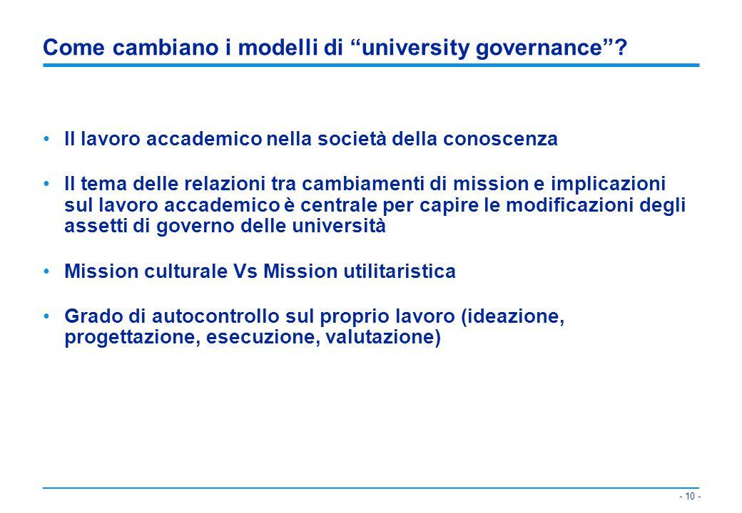 Come cambiano i modelli di university governance