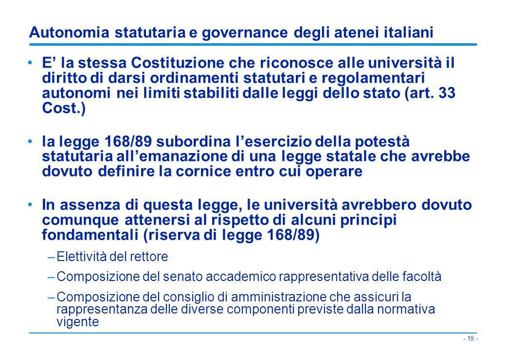 Autonomia statutaria e governance degli atenei italiani