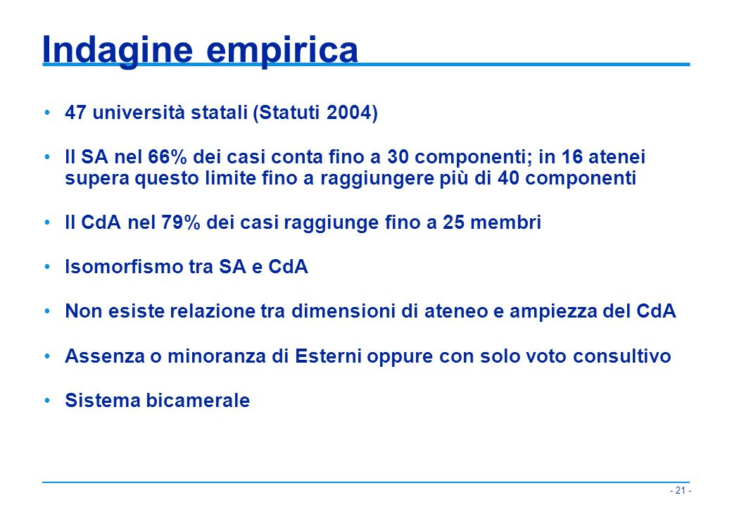 Indagine empirica 47 università statali (Statuti 2004)