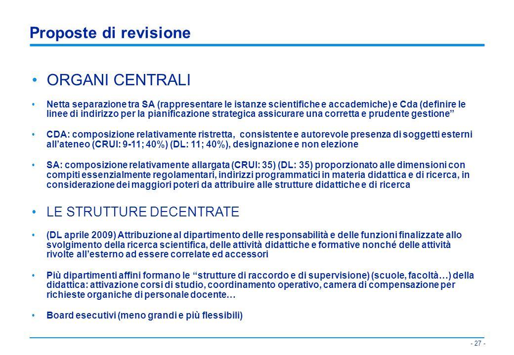 Proposte di revisione ORGANI CENTRALI LE STRUTTURE DECENTRATE
