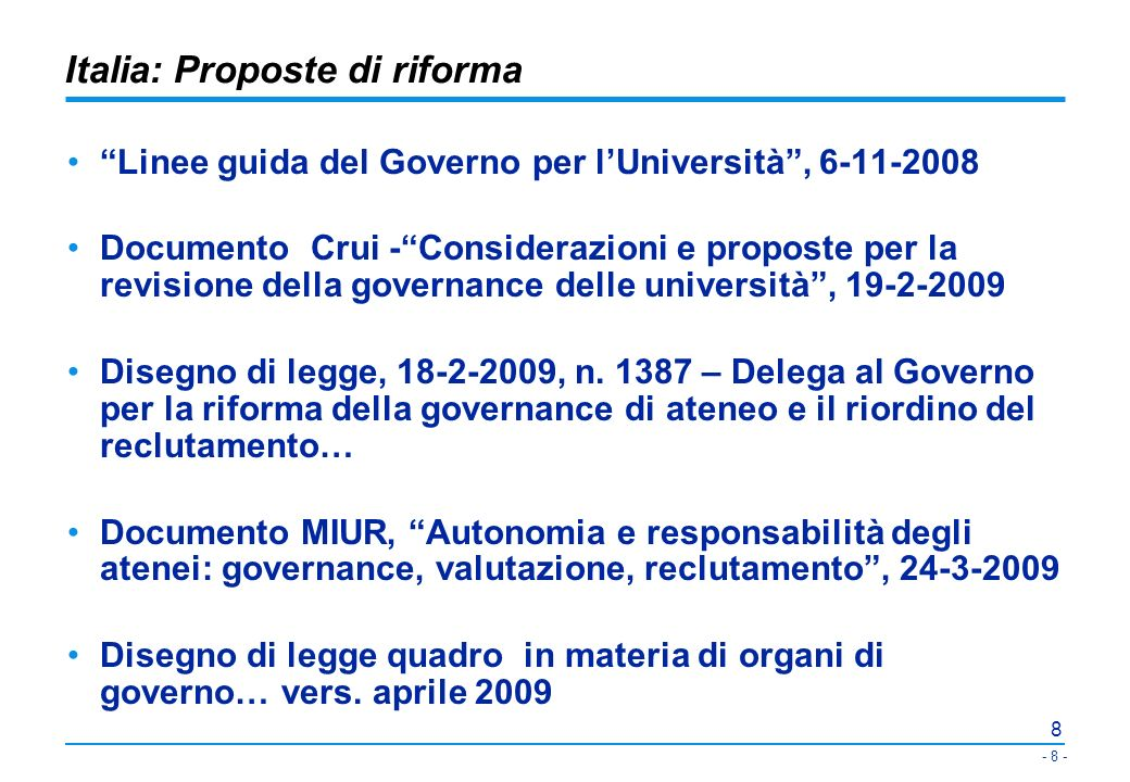 Italia: Proposte di riforma
