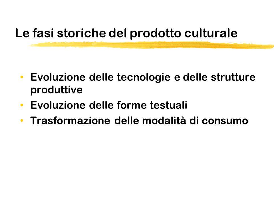 Le fasi storiche del prodotto culturale