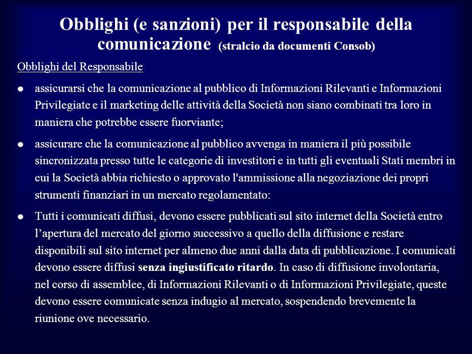 Obblighi (e sanzioni) per il responsabile della comunicazione (stralcio da documenti Consob)