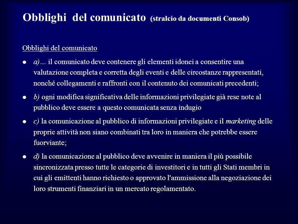 Obblighi del comunicato (stralcio da documenti Consob)