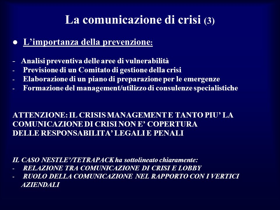 La comunicazione di crisi (3)
