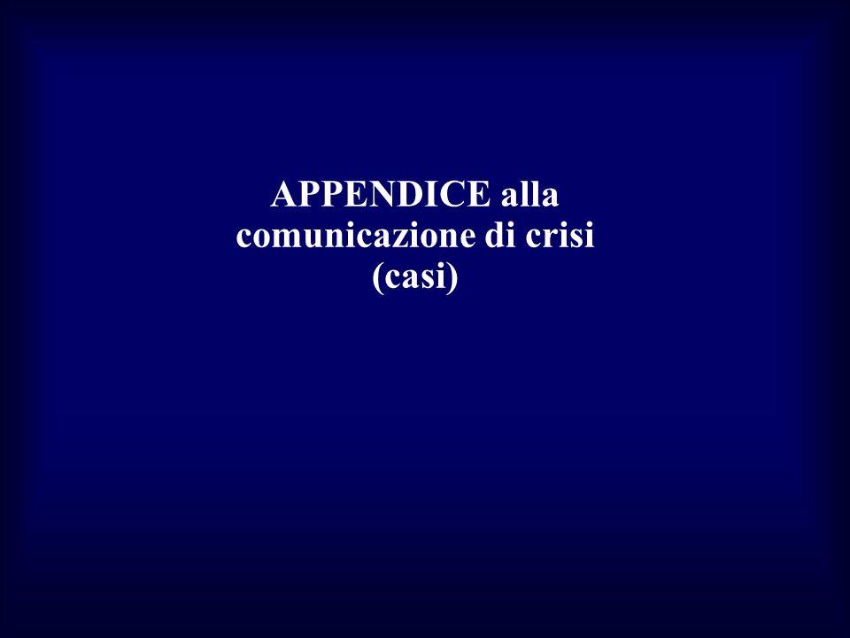 APPENDICE alla comunicazione di crisi (casi)