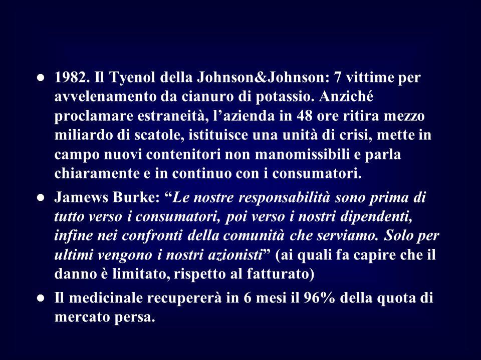 1982. Il Tyenol della Johnson&Johnson: 7 vittime per avvelenamento da cianuro di potassio. Anziché proclamare estraneità, l'azienda in 48 ore ritira mezzo miliardo di scatole, istituisce una unità di crisi, mette in campo nuovi contenitori non manomissibili e parla chiaramente e in continuo con i consumatori.